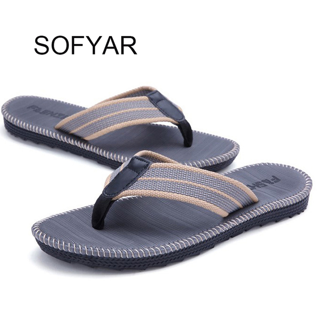 fa2cd851a93e5 Couples men and women pants slippers summer Korean trend men beach sand  drag slippers student anti-skid clip sea flip flop shoes