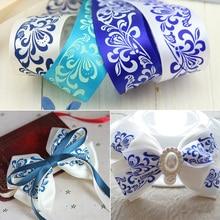 1''25 мм синий и белый фарфор печатных атласные ленты DIY ручной работы для маленьких девочек заколка для волос галстук-бабочка аксессуары(1 метр
