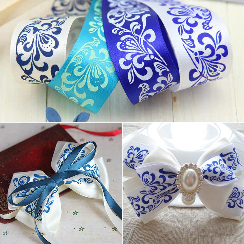 1''25mm Blue and White Porcelain Printed Satin Ribbons DIY Handmade Baby Girl Headband Hair Clip Bow Tie Accessories (1 Meter)