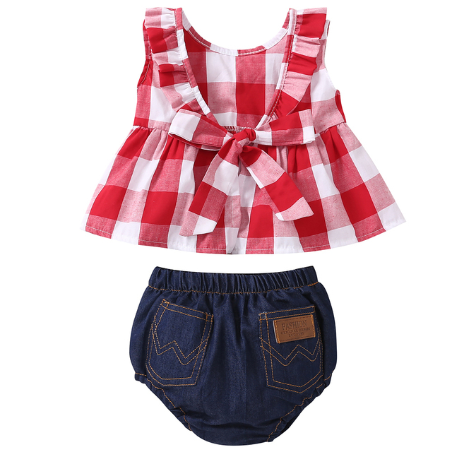 2019 Summer baby girl clothing set Plaid Skirted T-shirt Tops+Denim Short Bloomers Headband  baby girl clothes Newborn Outfits 2
