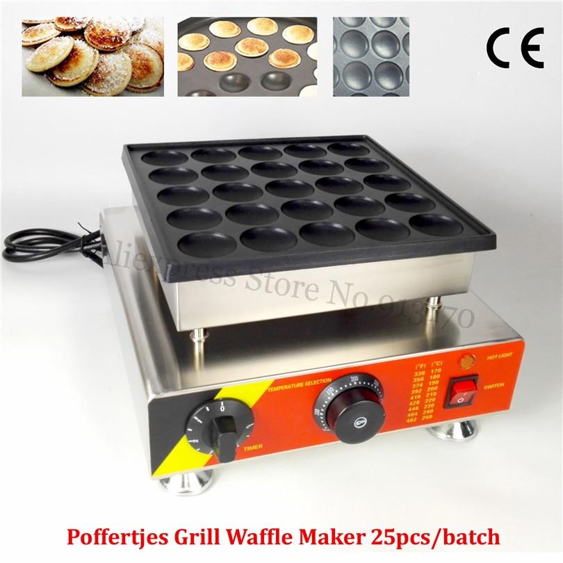 Dutch Poffertjes Grill Stainless Steel Mini Dutch Pancakes Waffle Machine Nonstick Cooking Surface 25pcs Holes 110V 220V