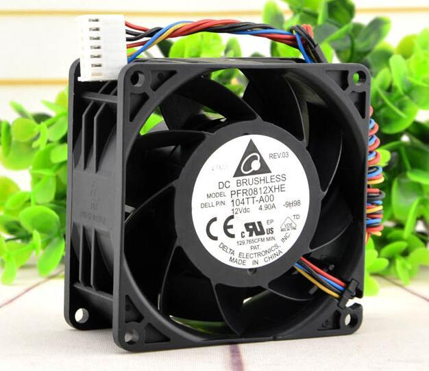 Delta 8cm 8038 DC 12V 4.9A PFR0812XHE large air volume PWM speed control server cooling fan