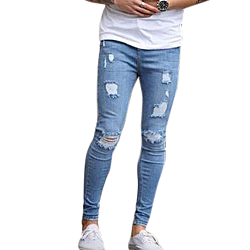 New Men's Ankle Length Slim  Jeans Streetwear Holes Summer Ripped Pencil Pants Trousers Casual Denim Skinny Mens Jeans