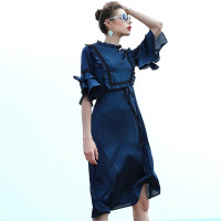 Plus Size Dress Women Vintage Elegant Royal Blue Ruffle Flare Sleeve Midi Dress Robe Femme Ete