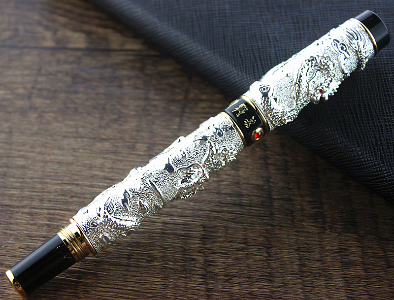 JINHAO Silver 0.7 MM Nib ink Pen Two Dragon Play Pearl luxury Writing Metal Dragon Fountain Pens gift latest design jinhao dragon and phoenix carving fountain pen stationery luxury metal writing gift art collection ink pens