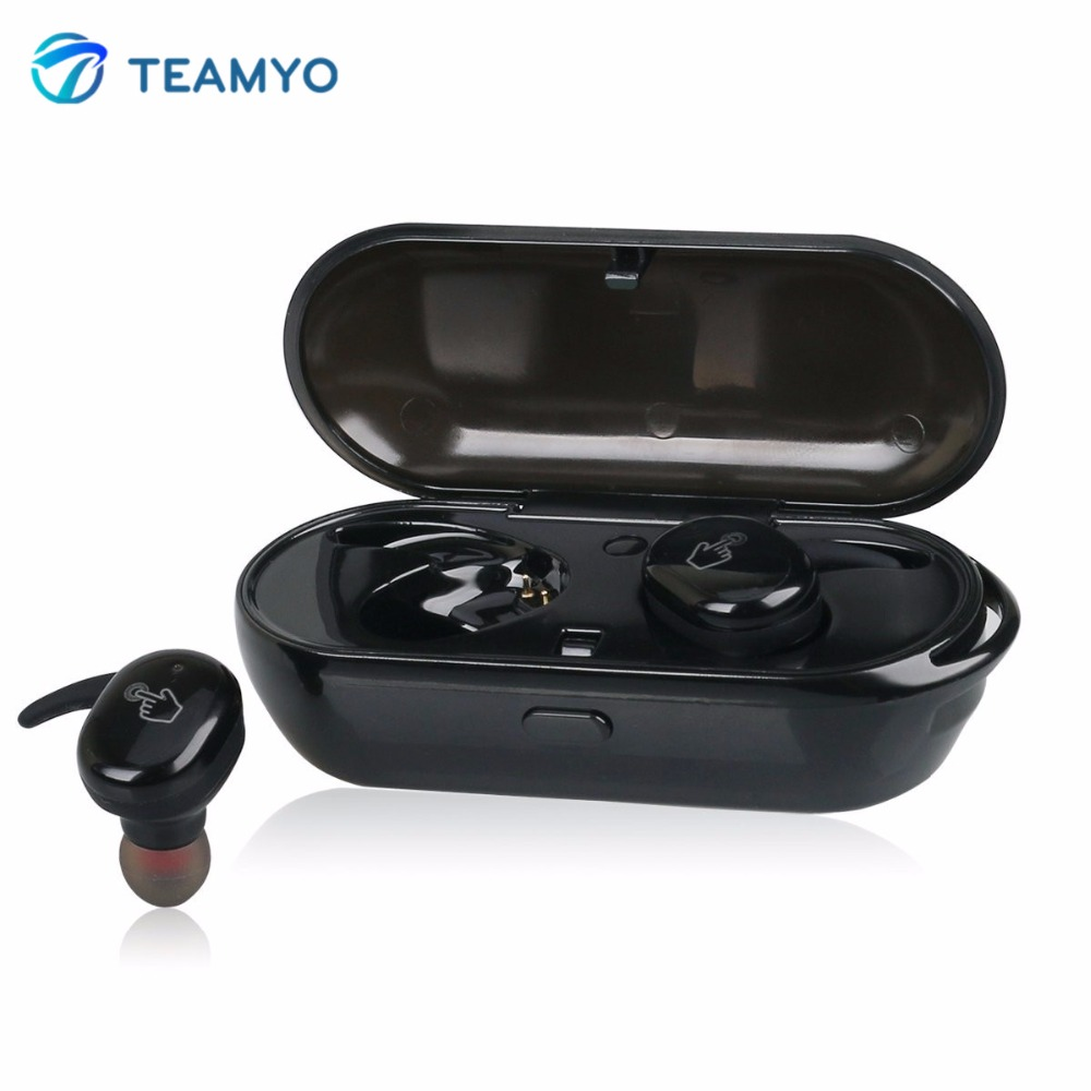 Teamyo TWS Ture in-ear Wireless Bluetooth Earphone Mini + Easy Touch Control Sport bluetooth headset with mic Chargeable Box new dacom carkit mini bluetooth headset wireless earphone mic with usb car charger for iphone airpods android huawei smartphone