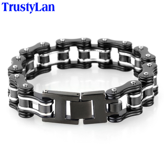 16mm Wide Black Stainless Steel Man Bracelet Male Cool Biker Motorcycle Chain Friendship Mens Bracelets 2018