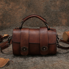 Retro Genuine Leather Handbag Small Women Bag 2017 Cow Leather Shoulder Bag Handmade Women Crossbody Messenger Bag Flap Bags
