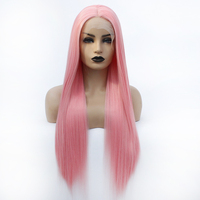 V'NICE Synthetic Wigs Lace Front Pink Wig Long Silky Straight Full Hair for Women Heat Resistant Fiber Middle Parting