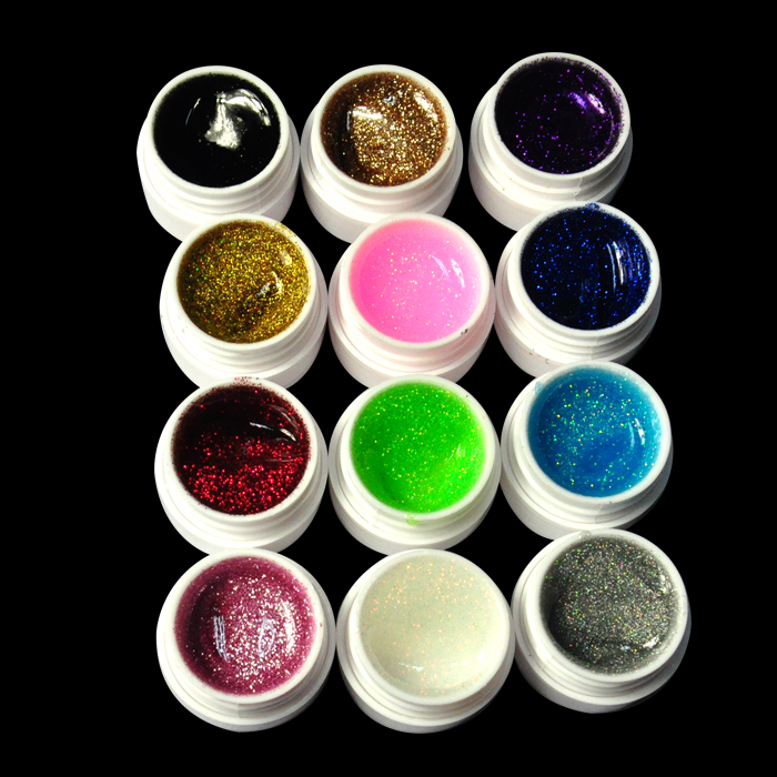 1set Glitter UV Gel 12 Mix Colors Builder False Tips Acrylic Nail Art Polish Kit Set