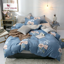 Slowdream Flowers Pattern Comfort Bedding Set Bedspread Bed Flat Sheet Linen Euro Nordic Bedclothes Adult Duvet Cover