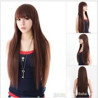 Free Shipping Korean Wig With Long Straight Hair And Long Straight Fluffy Girls  Hair Dark Brown