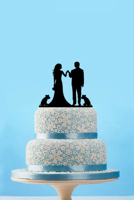 Fashion Bride Groom Cake Topper With Dog Engagement Rustic Wedding Toppers