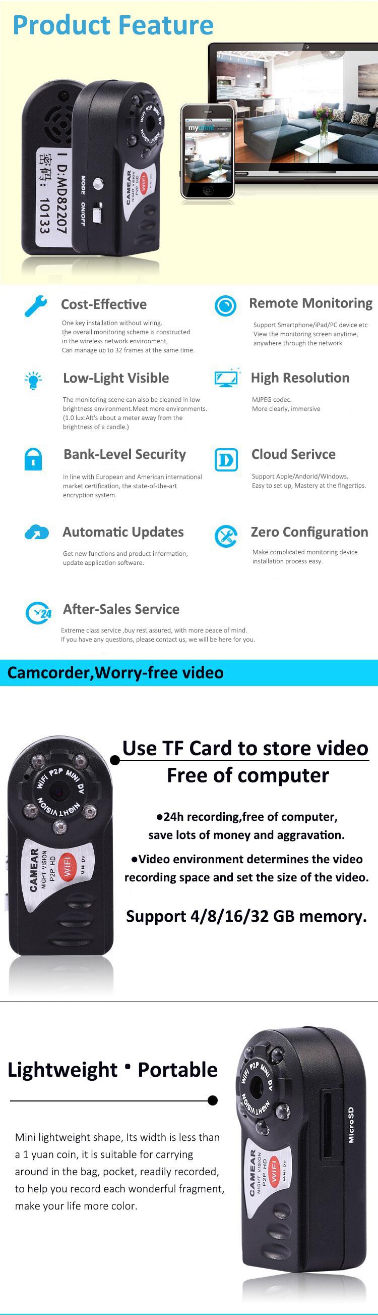 IP Webcam WiFi Mini Camera DVR Nanny Q7 Wireless Camcorder Infrared Night  Vision Motion Sensor Video Voice Recorder Mirco Cam