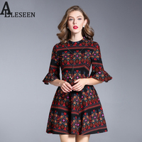Retro Noble Ethnic Women XXL Dresses 2017 Fashion New Arrival Half Flare Sleeve Floral Printed Princess