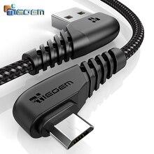 TIEGEM 90 градусов Micro USB кабель 2A быстрое зарядное устройство кабель для передачи данных Плетеный USB кабель для мобильного телефона USB зарядное устройство кабель для Samsung Huawei
