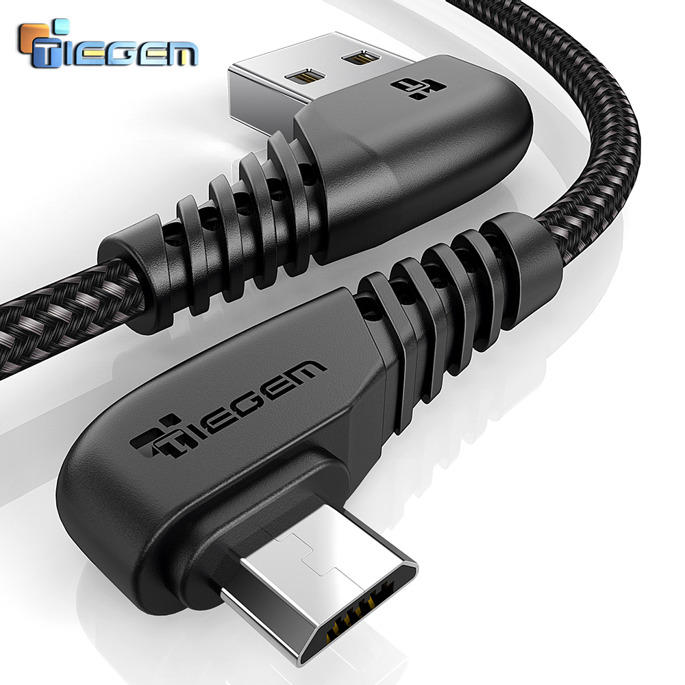 TIEGEM 90 Degree Micro USB Cable 2A Fast Charger Data Cable Braided USB Cable Mobile