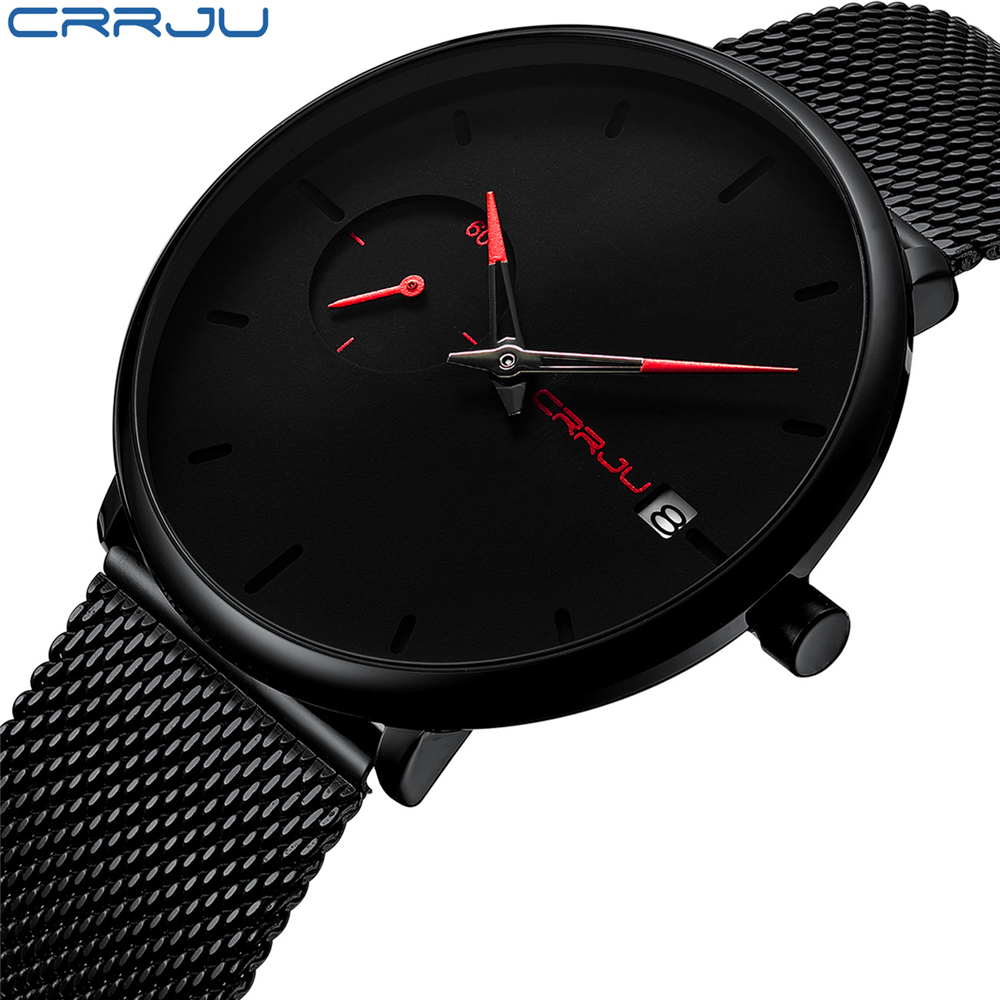 CRRJU <font><b>Mens</b></font> <font><b>Watches</b></font> Top Brand <font><b>2019</b></font> New <font><b>Luxury</b></font> fashion Sports Waterproof <font><b>Watch</b></font> <font><b>Men</b></font> <font><b>Ultra</b></font> <font><b>Thin</b></font> Dial Quartz <font><b>Watch</b></font> Relogio Masculino image