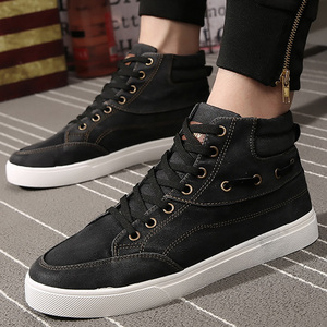 Image 4 - Mens denim footwear wear resistant fashion high top sneakers casual shoes men lace up 2019 hot brand shoes black