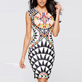 Sexy Womens Sleeveless Fashion Dress Vintage Geometric Printed Elegant Bodycon Knee Length Pencil Party Dresses Vestidos