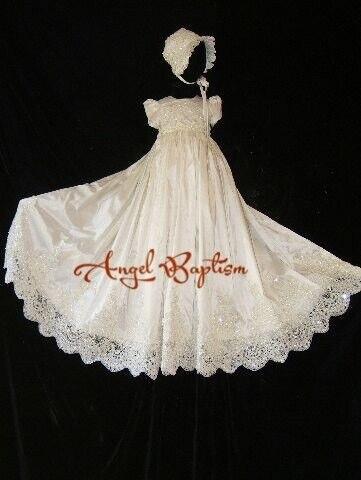 Бисером Blings блестки длинные кружева фамильные новорожденный крещение веревка девочки крещение благословение платье с капота