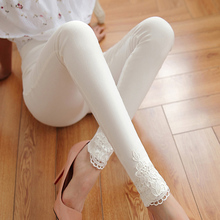 Summer Capris Women Slim Lace Stretch Leggings Pencil Pants Skinny Female Fashion Thin Trousers Black White Plus Size