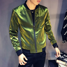 Hombres metálico discoteca chaqueta Varsity botón brillante cremallera  béisbol bombardero Hiphop Streetwear Casual Windbreakers(China 4f20b3bfffe