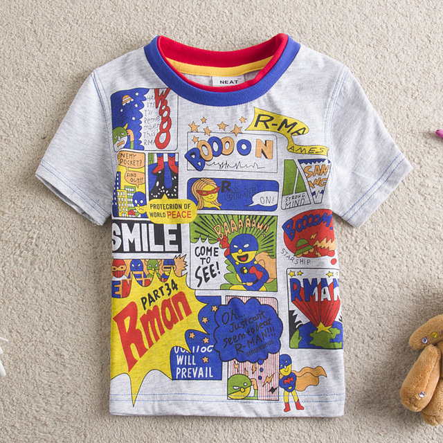 New NEAT Kids 100% cotton cute Superman pattern baby boys clothes short sleeve T-shirt children clothing kintted S8101#