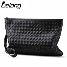LIELANG Genuine Leather Clutch Bag Men Wallets Large Capacity Cell Phone Clutch Purse Cowhide Weave Wallet Women Card Holder