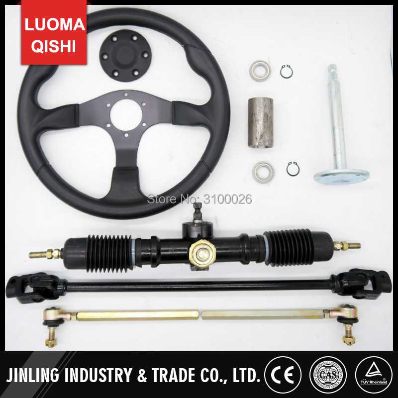 350mm Steering wheel 520mm Gear Pinion 600mm U Joints Tie Rod Fit For DIY China Go Golf Kart Buggy Karting UTV Bike Parts
