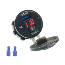 Quick Charge 3.0 USB Car Charger Socket Digital Display Voltmeter With ON-OFF Switch For Motorcycle ATV