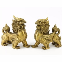 6 Inch BRASS FENGSHUI PAIR PI YAO STATUES FENGSHUI PI XIE STATUES