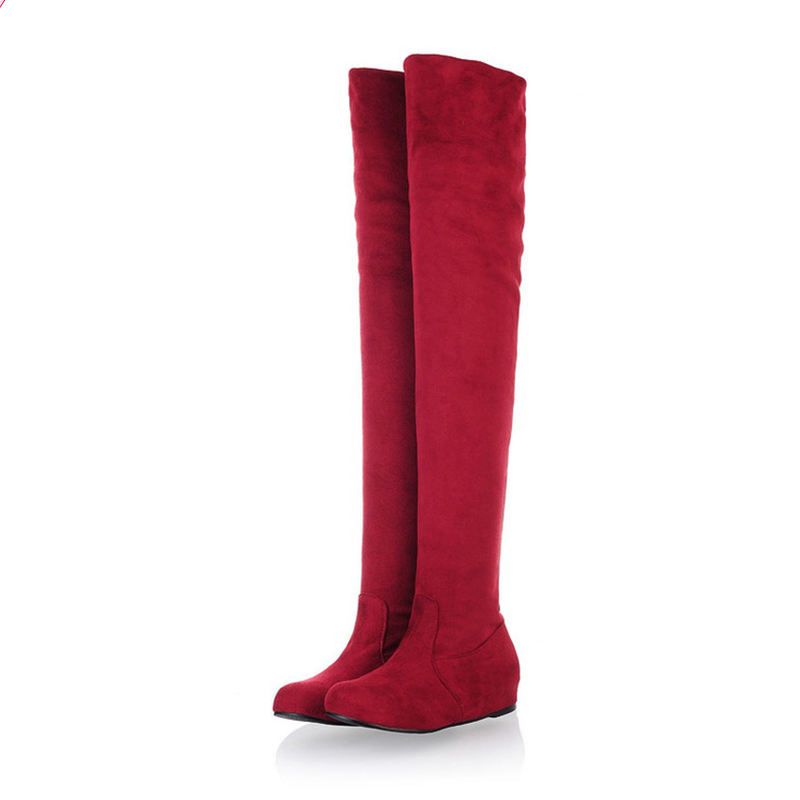 2017 Hot Quality Women shoes Faux Suede Over the Knee Flat Women font b Boots b