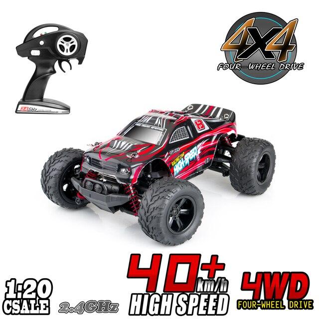 RC سيارة 1:20 4WD عالية السرعة على الطرق الوعرة التحكم عن بعد سيارة 45 km/h 2.4 GHz جميع التضاريس راديو التحكم سباق شاحنة كبيرة 1500 mAh
