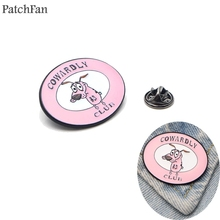 Patchfan COURAGE culb The Cowardly Dog tie Pins backpack clothes brooches for men women hat decoration badges medal A1306