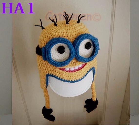 b7b954b27f304 Handmade Crochet Baby Hat Infant Knitted Winter Earflap Hat Cartoon Minion  Beanie Hat Photo Prop