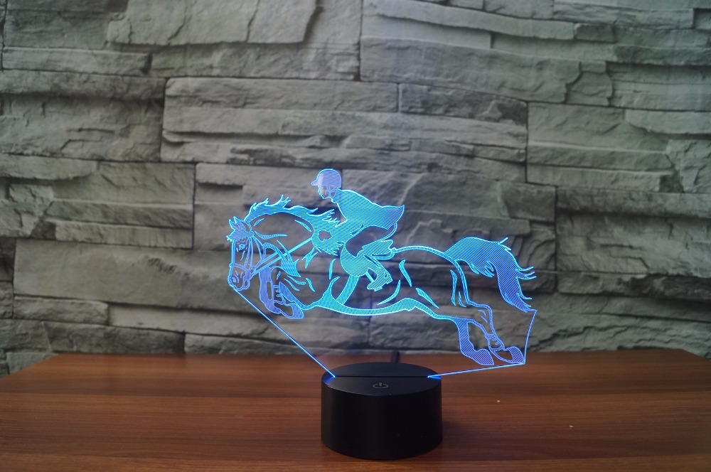 Cool Riding Horse 3D Night Light Instruments Lamp 7 Colors LED USB 3D Illusion Lamp For Home Decor For Kids Toy Gift