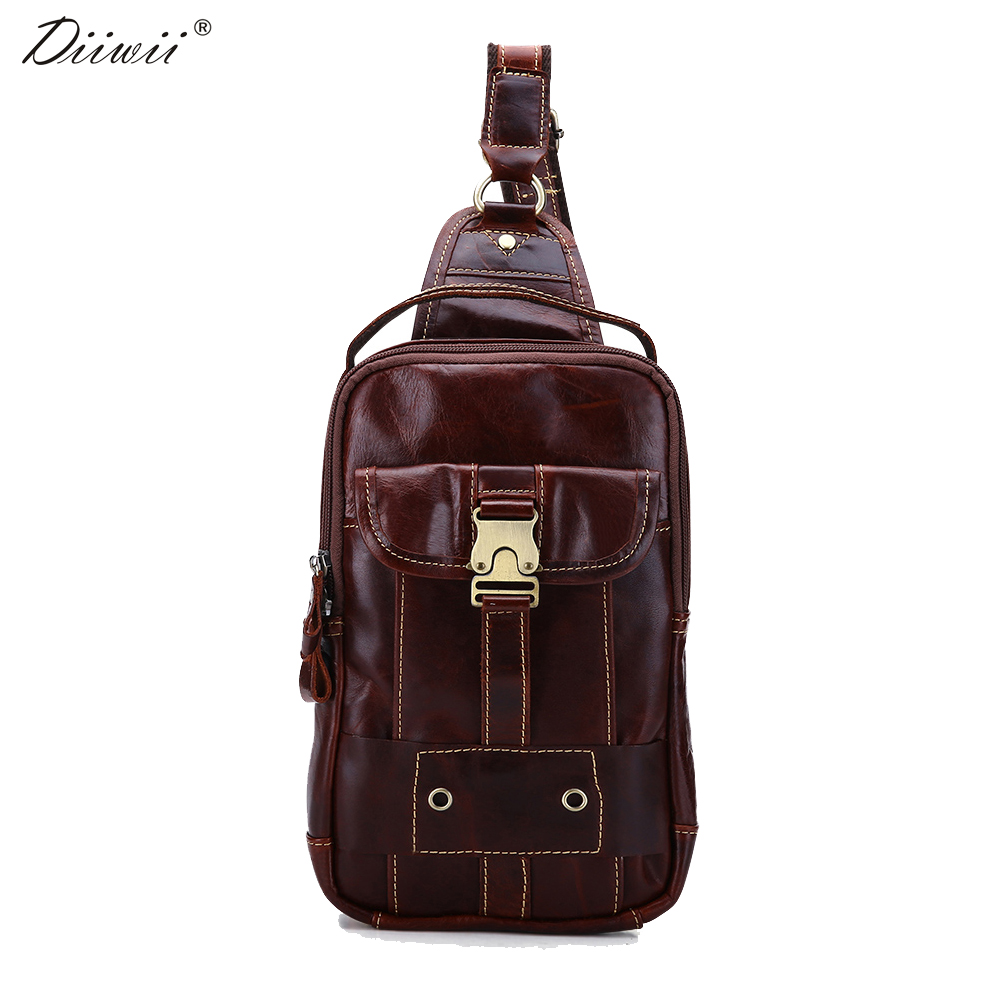 ФОТО Diiwii 2017 Genuine Leather cowhide chest pack Men Crossbody chest bags casual small shoulder bag for male man bag