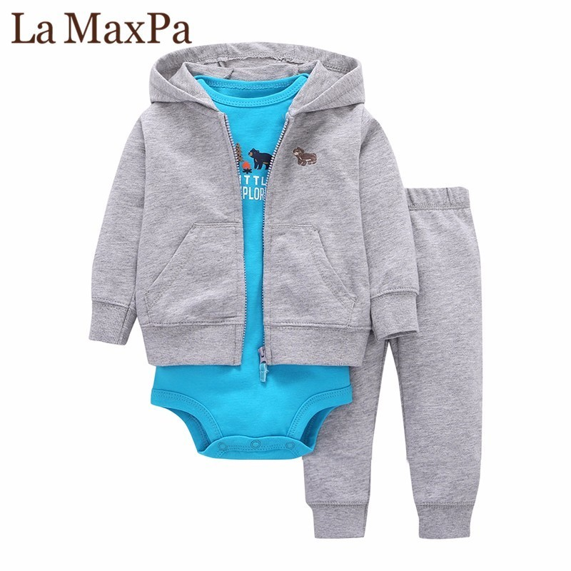 2018 Sale Promotion Coat+pants+baby Romper Autumn Winter Sets 6~24 Months Baby Boys Gilrs Clothes 100% Cotton Bodysuit Infant