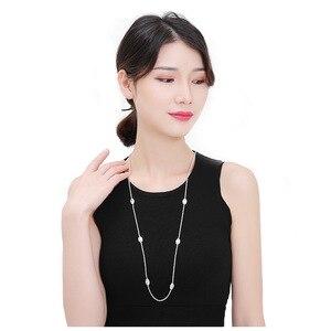 Image 4 - FXLRY zarif beyaz mikro kakma AAA kübik zirkonya geometrik uzun kazak kolye kadın moda aksesuarları takı kolye