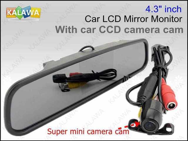 """Um conjunto de 4.3 """"polegadas LCD Car Vista Traseira Retrovisor DVD Espelho Monitor com câmera CCD carro cam waterprof BOA QUANTIDADE GGG"""