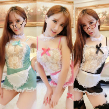 a7e02f8db21 France style maid uniform Sheer Lace Costume Cosplay French Maid Sexy  Lingerie Outfit Fancy Dress(