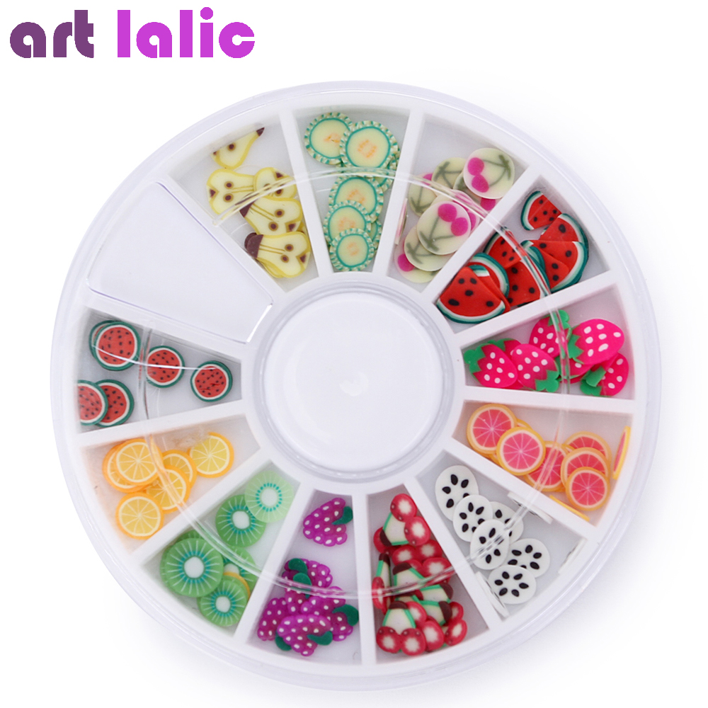 3D Polymer Clay Tiny Fimo Fruit slices Wheel Nail Art DIY Designs Wheel Nail Art Decorations Wholesale Artlalic 1000pcs pack 3d fimo nail art decorations fimo canes polymer clay canes nail stickers diy 3mm fruit feather slices design zj1202