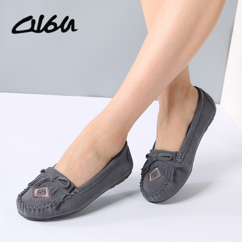 O16U Women ballet shoes loafers tassel Flats Embroidery   suede   genuine   leather   Knot slip-on ladies ballerina purple Gray Red