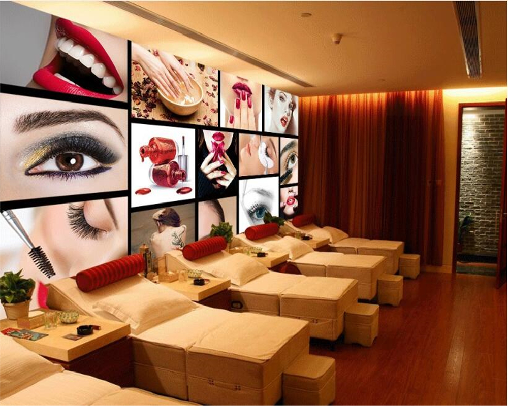 Beibehang Wall Paper European And American Classic Wallpaper Fashion Beauty Salon Eyebrows Nail Tooling Background 3d Wallpaper