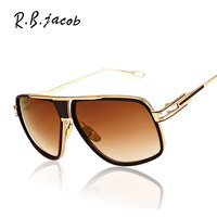 Luxury Brand Designer Oversized Men Sunglasses Women Square 18K Gold Male High Quality Five Big Male