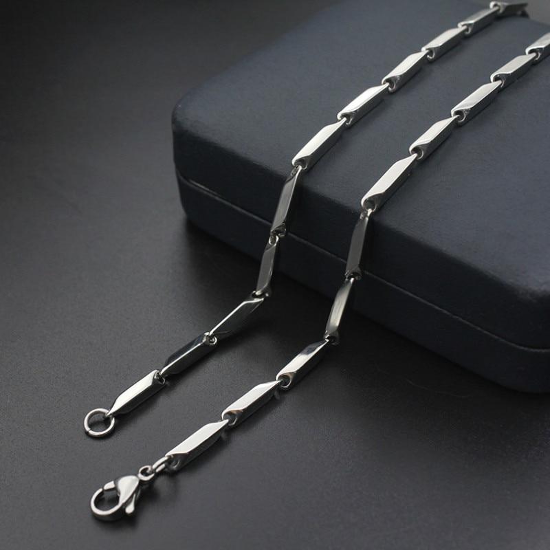 Модная Серебряная цепочка с ромбовидным узором 2 мм 3 мм 4 мм, ожерелье из нержавеющей стали, цепочка для женщин и мужчин, медальон, кулон