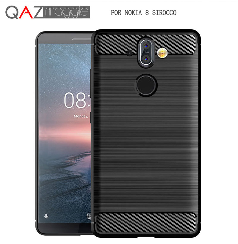 sfor Nokia 8 Sirocco Case Silicone Soft TPU Brushed Carbon Fiber Texture Case for Nokia 8 Sirocco Nokia8 Sirocco Cover