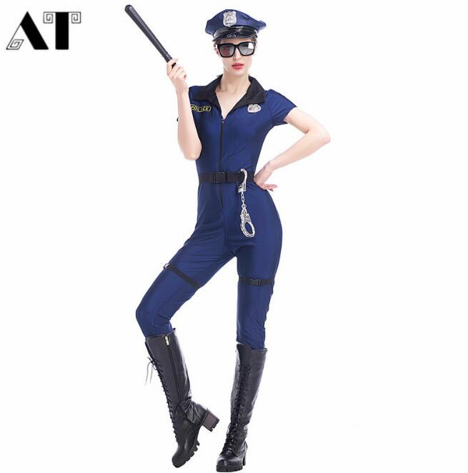Sexy Women Police Officer Costume Uniform Halloween Adult -9458