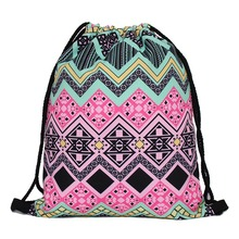Lightweight Travel Drawstring Backpack Pouch Outdoor Backpack cheap mochila Kids Cute Animal Print Pattern Polyester textile bag